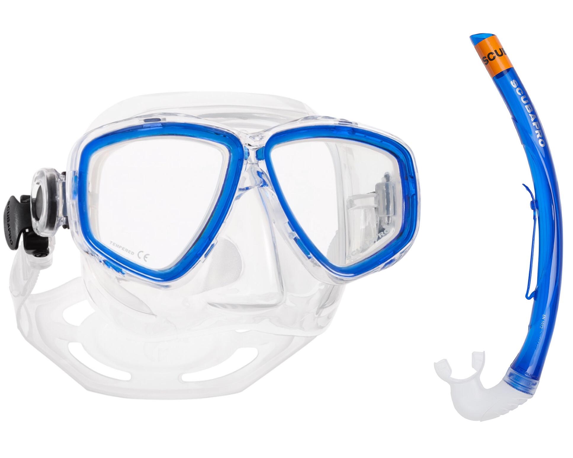 Scubapro blå mask med blå snorkel i set