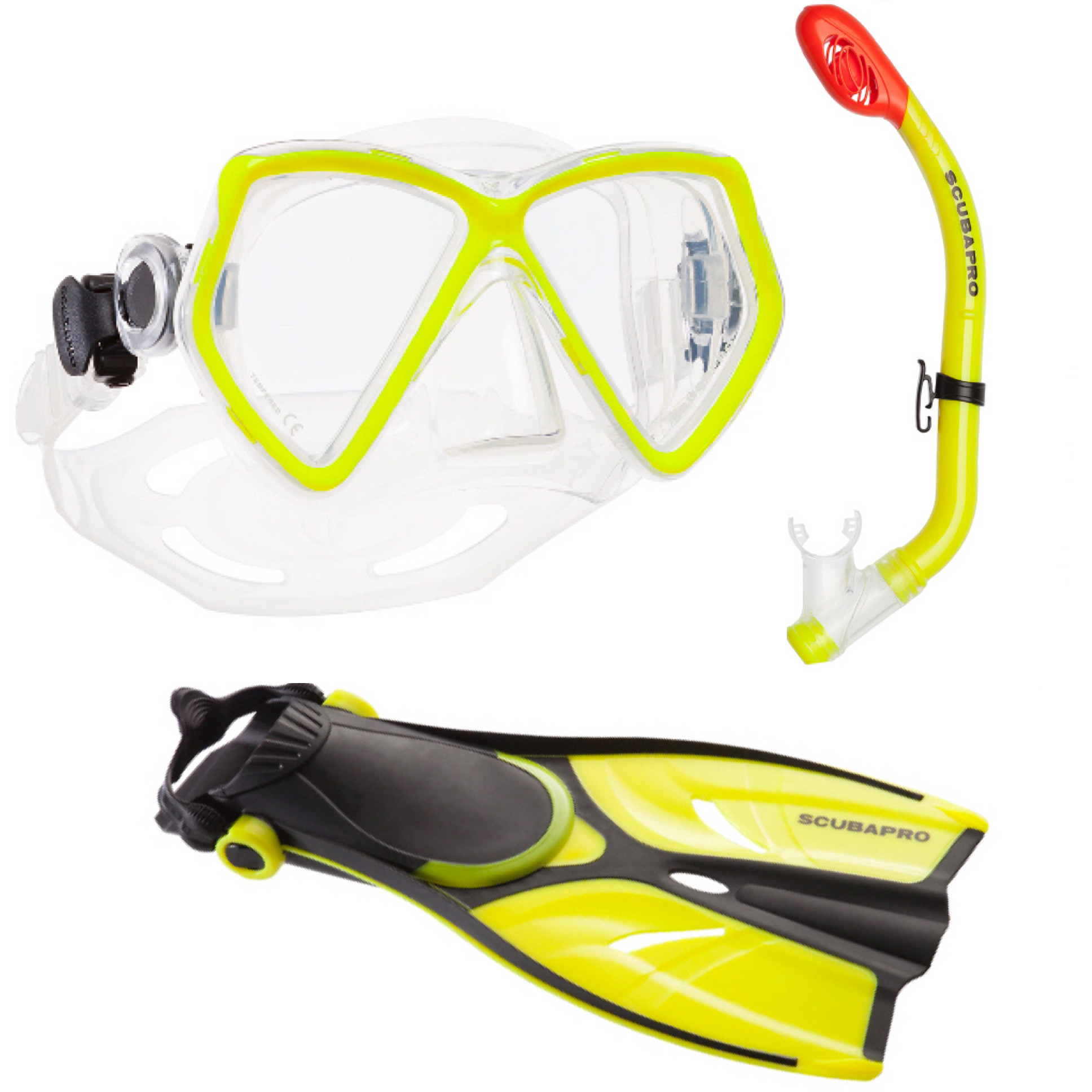 Snorkelset Silver Junior Yellow